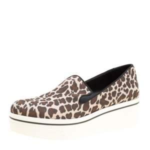 Stella McCartney Multicolor Leopard Print Canvas Platform Slip On Sneakers Size 38