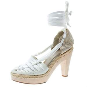 Stella McCartney White Canvas Espadrille Trim Tie Up Block Heel Sandals Size 38