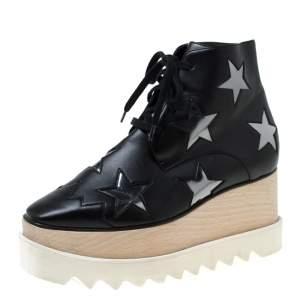 Stella McCartney Black Faux Leather Elyse Star Platform Lace Up Booties Size 36