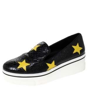 Stella McCartney Python Embossed Faux Leather Binx Star Platform Slip On Sneakers Size 39