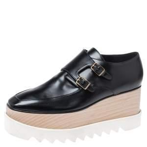 Stella McCartney Black Faux Leather Elyse Buckle Platform Derby Sneakers Size 40