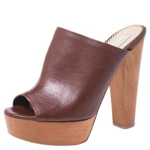 Stella McCartney Brown Faux Leather Wooden Block Heel Platform Mules Size 38