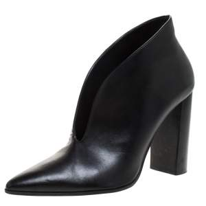Stella McCartney Black Faux Leather High Vamp Booties Size 39