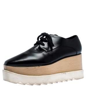 Stella McCartney Black Faux Leather Elyse Platform Derby Size 37.5