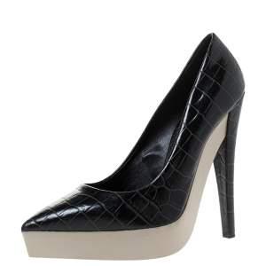 حذاء كعب عالي ستيلا مكارتني نعل سميك جلد نقش تمساح صناعي أسود مقاس 38.5