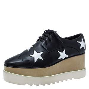 Stella McCartney Black/White Faux Leather Elyse Star Platform Derby Size 39
