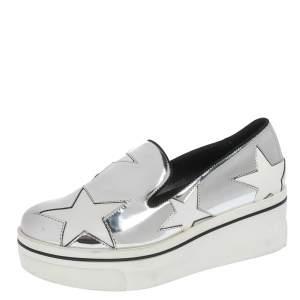 Stella McCartney Metallic Silver White Star Platform Binx Sneakers Size 35