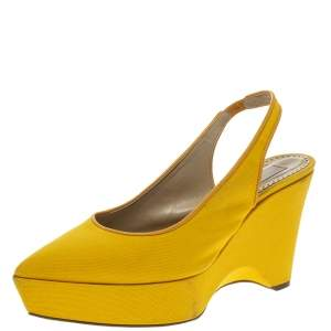 Stella McCartney Yellow Canvas Slingback Wedges Size 40