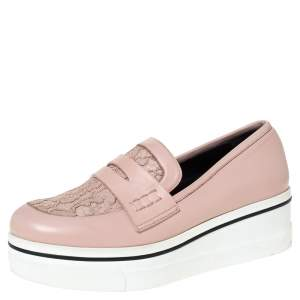 Stella McCartney Pink Faux Leather And Lace Penny Platform Loafers Size 38