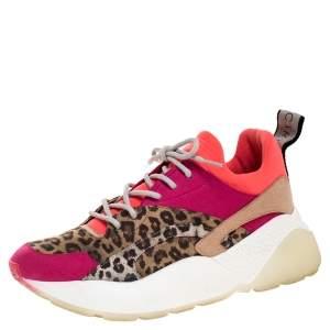 Stella McCartney Multicolor Leopard Print Eclypse Low Top Sneakers Size 40