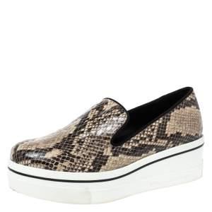 Stella McCartney Brown Faux Python Platform Slip On Sneakers Size 37