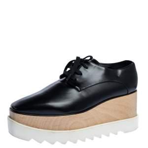 Stella McCartney Black Faux Leather Elyse Platform Derby Sneakers Size 38.5