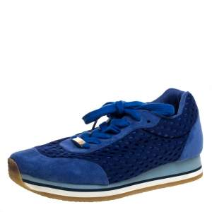 Stella McCartney Blue Faux Suede and Perforated Mesh Lace Up Sneakers Size 38