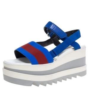 Stella McCartney Blue/Red Fabric Striped  Platform Sandals Size 39.5