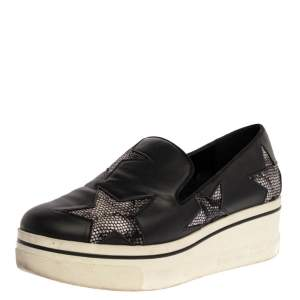 Stella McCartney Black Faux Leather and Multicolor Faux Snake Print  Binx Star Platform Slip On Sneakers Size 38