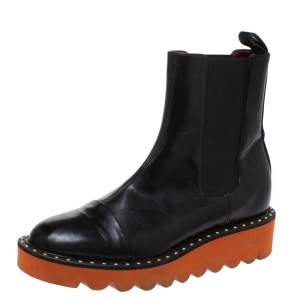 Stella Mccartney Black Glossy Faux Leather Odette Mid Length Boots Size 36