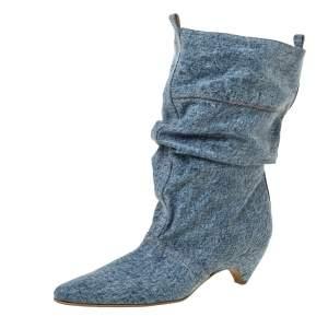 Stella McCartney Grey Denim Pointed Toe Mid Calf Boots Size 40