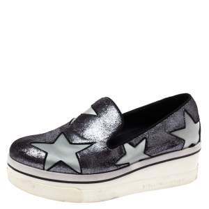 Stella McCartney Black Shimmery Faux Leather and Grey Satin Binx Star Platform Slip On Sneakers Size 37