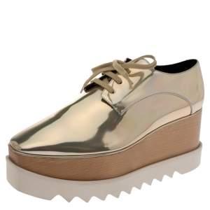 Stella McCartney Metallic Gold Faux Leather Elyse Platform Derby Sneakers Size 40.5