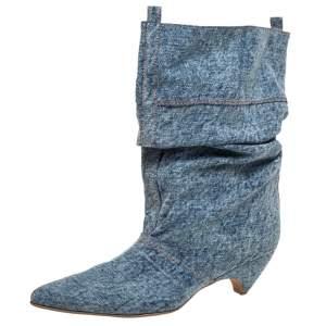 Stella McCartney Blue Crease Denim Mid Length Boots Size 39