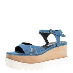Stella McCartney Blue Denim Fabric Elyse Platform Ankle Strap Sandals Size 39.5