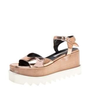 Stella McCartney Metallic Gold Faux Leather Creeper Platform Ankle Strap Sandals Size 36.5