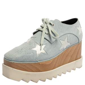 Stella McCartney Light Blue Denim Fabric Elyse Stars Platform Lace Up Sneakers Size 35