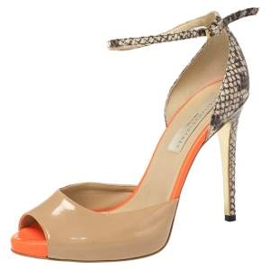 Stella McCartney Tri Color Patent Leather and Python Embossed Leather D'orsay Ankle Strap Sandals Size 39