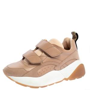 Stella McCartney Nude Faux Leather and Faux Suede Eclypse Velcro Sneakers Size 39