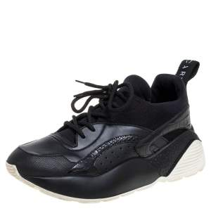 Stella McCartney Black Faux Suede And Embossed Leather Eclypse Low Top Sneakers Size 39