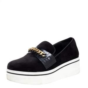 Stella McCartney Black Faux Suede Chain Embellished Platform Slip On Sneakers Size 39
