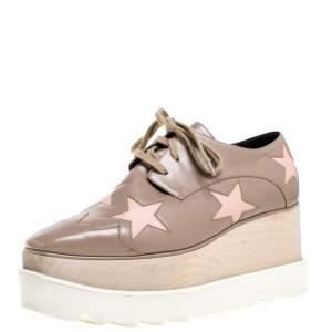 Stella McCartney Beige Faux Leather Elyse Star Platform Lace Up Derby Size 35.5
