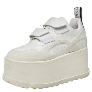 Stella McCartney White Faux Leather and Suede Eclypse Platform Sneakers Size 36.5