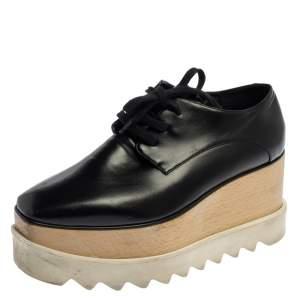 Stella McCartney Black Faux Leather Elyse Platform Derby Size 35