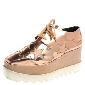 Stella McCartney Rose Gold Faux Patent Leather Elyse Star Platform Sneakers Size 38.5