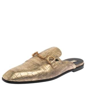 Stella McCartney Gold Faux Croc Embossed Leather Flat  Mules Size 38.5