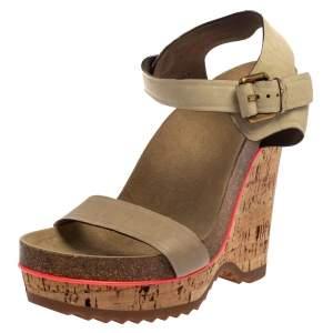 Stella McCartney Cream Suede Ankle Strap Wedge Sandals Size 39