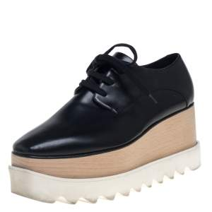 Stella McCartney Black Faux Leather Elyse Platform Sneakers Size 37