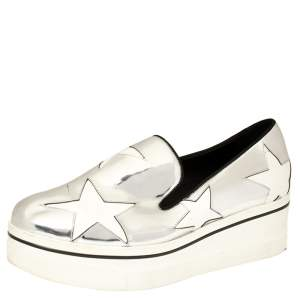 Stella McCartney Metallic Silver Faux Leather Binx Star Platform Slip On Sneakers Size 41