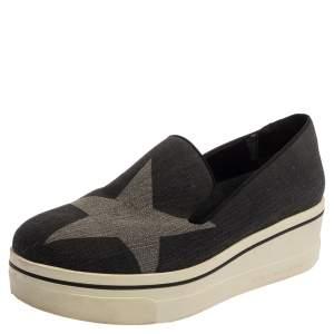Stella McCartney Dark Grey Star Binx Canvas  Platform Slip-On Sneaker Size 40