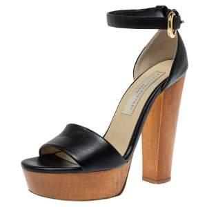 Stella McCartney Black Faux Leather Platform Ankle Strap Sandals Size 36.5