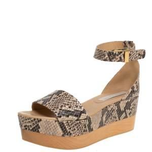Stella McCartney Beige/Black Faux Python Ankle Strap Wedges Size 40