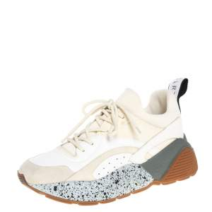 Stella McCartney White/Beige Faux Leather And Suede Eclypse Chunky Sneakers Size 39