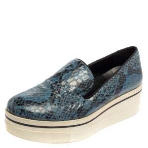 Stella McCartney Blue Python Embossed Leather Binx Platform Sneakers Size 39