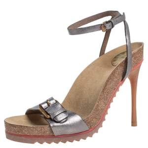 Stella McCartney Metallic Grey Faux Leather Ankle Strap Sandals Size 38