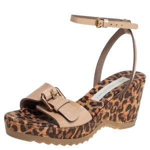 Stella McCartney Beige Faux Patent Leather Linda Leopard Print Cork Wedge Sandals Size 36