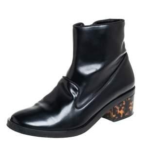Stella McCartney Black Faux Leather Zip  Booties Size 37.5
