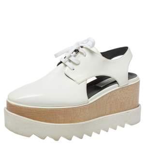 Stella McCartney White Leather Elyse Cutout Platform Derby Size 37
