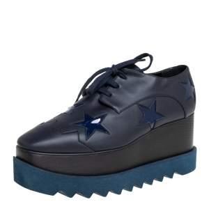 Stella McCartney Navy Blue Faux Leather Elyse Star Platform Derby Size 39