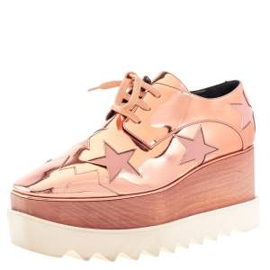 Stella McCartney Metallic Rose Gold Faux Patent Leather Elyse Star Platform Lace Up Sneakers Size 38